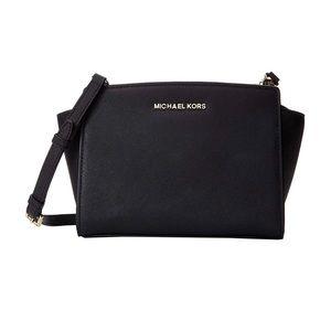 Michael Kors Selma Bag Black and Silver Medium